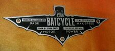 CUSTOM 1966 BATCYCLE SPECIFICATIONS DATA PLATE BATMAN TV SERIES BATMOBILE
