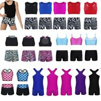 Kids Girls Sport Ballet Dance Bodysuit Crop Top+Bottoms Set Gym Yoga Costumes