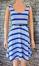 Women's Soft Stretch Knit Sleeveless Blue Grey Horizontal Striped Dress Size 8