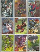 2017 Fleer Ultra Spider-Man Near Complete 99 of 100 Card Silver Foil Web Set