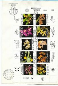 VENEZUELA 1995 ORCHIDS SET OF 10 VALUES MINISHEET MS VERY FINE ON FDC !