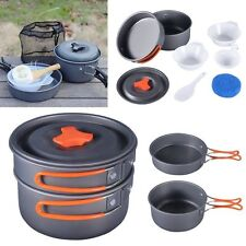 8Pcs Outdoor Camping Hiking Cookware Picnic Backpacking Cooking Pot Pan set