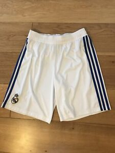 Real Madrid White Home Football Shorts Size Medium 34 Inch