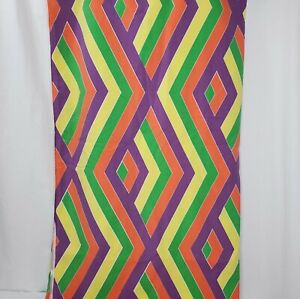 Vintage 70s Queen Flat Sheet Purple Orange Green Geometric Mod Retro Fabric