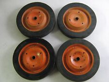 """Vintage Lot of 4 Metal Pedal Car Wagon Cart Wheels Tires 10"""" x 1.50"""" Solid"""