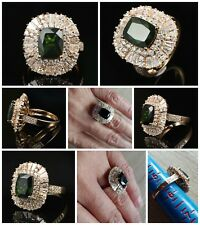 OOAK- 14kt Yellow Gold Chrome Diopside and 1.75 cts of Diamonds Cocktail Ring
