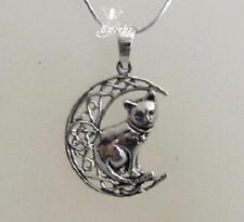 Gato de plata en la Luna Con Pentagrama Collar Por Lisa Parker Sterling .925 con licencia