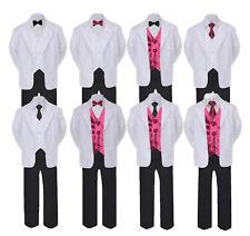 5-7pc Formal Black White Suit Set Burgundy Bow Necktie Vest Boy Baby Toddle Teen