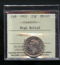 1951 High Relief Canada 25 Cents ICCS Certified MS62 DCB152