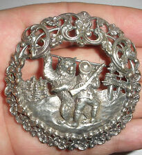 Rare Antique Norwegian Silver 830S brooch Norway Aksel Holmsen Hunter with Bear