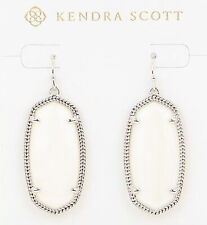 Kendra Scott Elle Oval Dangle Earrings in White Pearl and Rhodium Plated