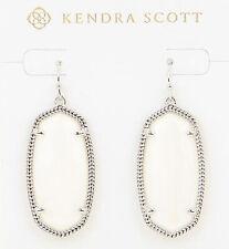Kendra Scott White Mother-of-pearl Silver Elle Oval Dangle Earring Jewelry