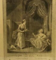 Antique French Le Bain The Bath 1774 Print Engraving Art Picture Victorian Paris