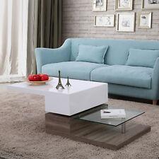 White High Gloss Swivel Rotating Coffee Table Rectangular with Glass Furniture