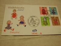 1968 Germany Wohlfahrtsmarken Dolls  Bonn 1 F.D.C CPL