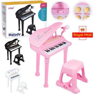 31 Key Kids Electronic Keyboard Grand Piano Stool Microphone Musical Toy w/Stool