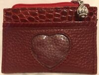 Adorable Brighton Red Leather Zip Card Coin Case