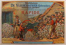 1890s Original Belgian Agricultural Poster, Automatic Vegetable Chopper