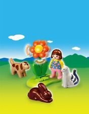 BNIB Playmobil 6763 1.2.3 Girl with Pets and Flower