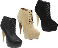 WOMENS LADIES LACE UP PLATFORM STILETTO HEEL BOOTIES ANKLE BOOTS SHOE SIZE 3-8
