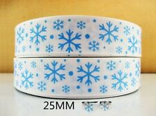 2M RED WHITE SNOWFLAKE FROZEN XMAS RIBBON SIZE 7//8 BOWS HEADBANDS HAIR BOWS