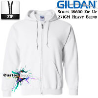 Gildan White Zip Up Hoodie Heavy Blend Basic Hooded Sweatshirt Sweater Men