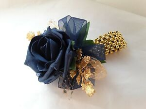Prom /Wedding navy blue Rose /gold Wrist Corsage/sparkle/glitter bead bracelet