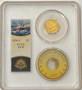 1856-S $3 Indian Princess Gold PCGS XF45 SS Central America Shipwreck 41 Found