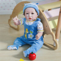 Lifelike Handmade Reborn Silicone Baby Boy Girl Doll Toddler Soft Body Doll 22""