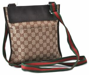 Auth GUCCI Web Sherry Line Shoulder Cross Body Bag GG Canvas Leather Brown B7353