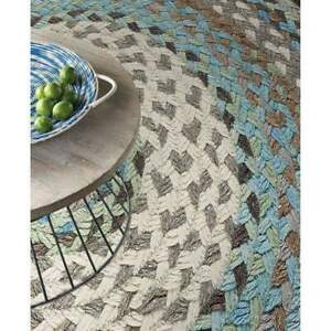 Capel Rugs Drifter Wool Blend Country Cottage Ocean Blue Round Braided Rug