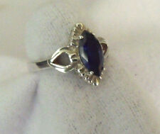 STERLING SILVER 925 MARQUISE DEEP BLUE SPINEL RING SIZE 6