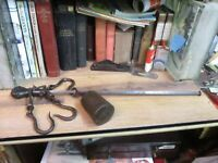Antique Early Iron Steelyard Balance Scale Mercantile 3 Hooks Weight FARM STORE