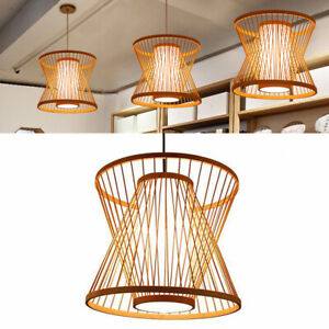 Bamboo Wicker Rattan Lampshade Pendant Light Fixture Handmade Hanging Lamp Room