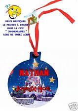 décoration de noël en MDF à suspendre avec ruban personnalisé avec prénom réf 05