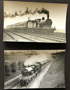 2 OLD ORIGINAL PHOTOGRAPH POSTCARDS MIDLAND RAILWAY 3P 4-4-0 LOCOMOTIVES