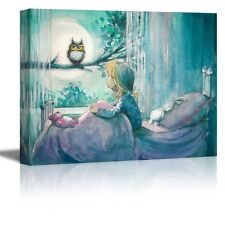 "Canvas - Girl in Her Bed Looking at an Owl on a Tree in Painting Style-12"" x 16"""