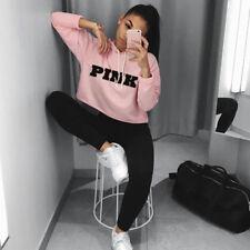 Womens Hoodie Sweatshirt Long Sleeve Jumper Pullover Crop Tops Hoody Sweater