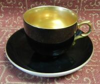 Ohashi China Black on Heavy Gold Leaf & Hand Painted Japan Cup & Saucer