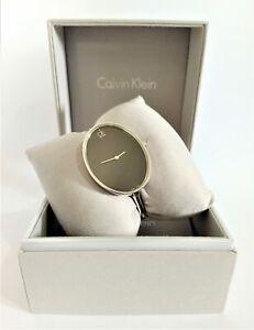 Calvin Klein K3D2S111 Sartoria Black Dial Stainless Steel Ladies Bangle Watch