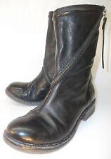 Romas Womens Boots EU36 Black Leather Spiral Zip Combat Moto Biker Chic Goth