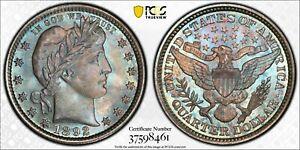 1892 Barber Quarter PCGS MS67 Stunning Blue Toner