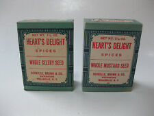 2 Heart's Delight Spice Boxes Wellsville N.Y. Mustard Seed & Celery Seed