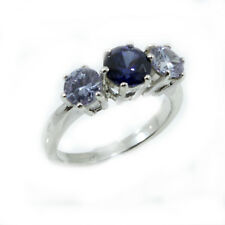 Sterling Silver Three Stone Tanzanite And Violet Cubic Zirconia Ring