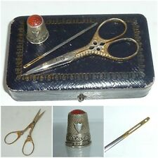 Edwardian Sewing Set Etui Silver Thimble Scissors Bodkin Needle fitted Box Case