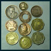 BRITISH INDIA - PRINCELY STATES - REPUBLIC INDIA 10 COINS LOT COLLECTABLE COINS