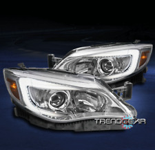 FOR 2008-2014 SUBARU IMPREZA WRX LED TUBE CHROME PROJECTOR HEADLIGHTS HEADLAMPS