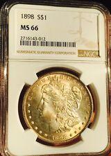 1898-P NGC MS66 Morgan Silver Dollar Golden/Orange Toning Beautiful BETTER DATE