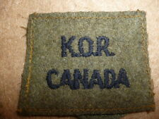 K.O.R. (King's Own Rifles), Canadian Slip On Shoulder Title, WW2