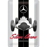Letrero de Metal Mercedes Benz Plateado Arrow Signo de la Nostalgia 30cm Firmar